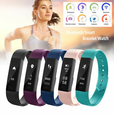 Bluetooth Fitness Tracker Monitor Activity Watch Sleep Screen Wristband Fit Bit