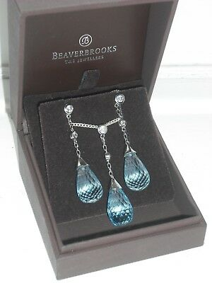 BEAVERBROOKS silver (925) necklace/ earring set turquoise briolette and cz BNIB