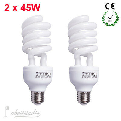 2x 45W Daylight Lighting Photo Studio Continuous Light 5500k E27 Umbrella Bulb