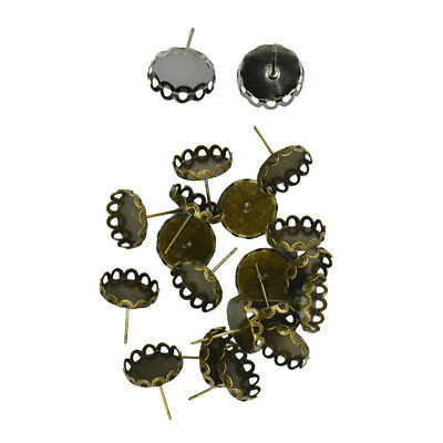 40 Pcs Blank Bezel Setting Base for 12mm Cabochon Ear Stud Pins Bronze&Black
