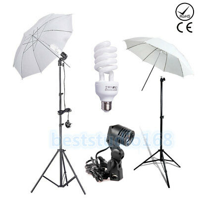225W Photo Studio Umbrella Light Stand Bulb Continuous Lighting Lamp Kit Set UK