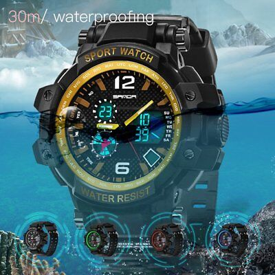Outdoor Sport Watch Electronic Watch with Silicone Band & LED Light for Men BU