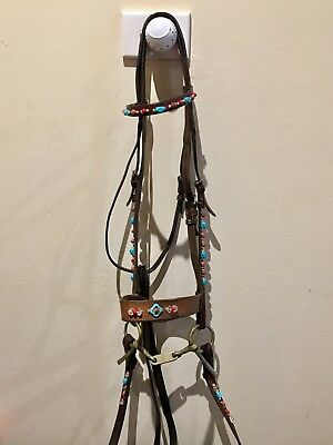 Full Size Gemstone English Bridle Quality Brown Leather Horse Turquoise Gold San