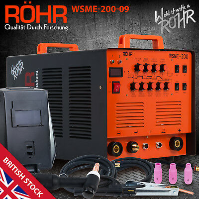 "ARC TIG Welder Inverter MMA Gas / Gasless 240V 200amp DC ""4 in 1"" Machine - ROHR"