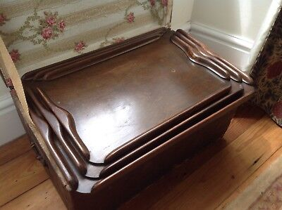 3 graduating Vintage Mahogany Butlers Trays wedding champagne catering party