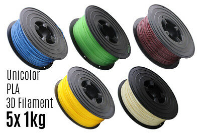 5x 3D Filament PLA 1kg 1,75mm Unicolor Drucker Printer Spule Rolle 1000g
