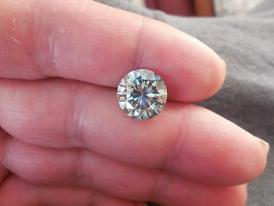 Fiery 4.69 ct Greenish Blue Color Round Loose Moissanite VVS1 11.45 mm