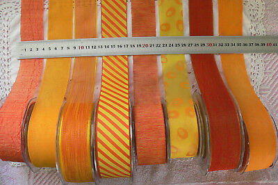 ORANGE & YELLOW Mix Tones Polyester 38mm Wide 2&3 Metres 8 Design Styles Choice