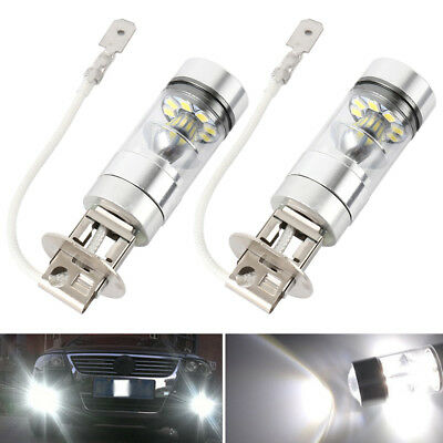 2x 6000k White LED H3 High Power 100W 2828 Car Fog Light Bulb DRL 1000LM