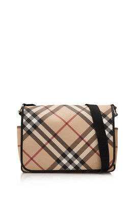 7a06d9e1b6ff PRE-OWNED BURBERRY CHECK Coated Canvas Messenger (Beige