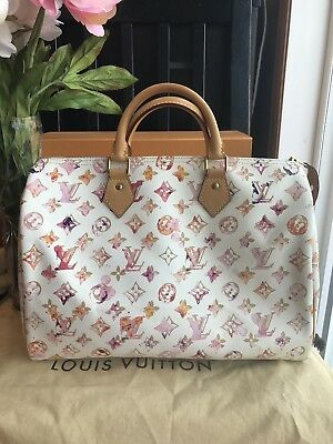 e90ac0a65885 AUTHENTIC LOUIS Vuitton Aquarelle White Watercolor Speedy 35 Richard ...