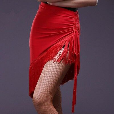 Ladies Latin Dance Skirt Tango Rumba Ballroom Salsa Tassels Practice Dance Dress