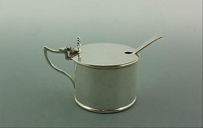Antique English Solid Silver Drum Mustard Pot Chester 1912