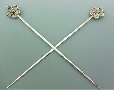 SUPERB CASED EDWARDIAN SOLID SILVER MEAT SKEWERS- regimental silver