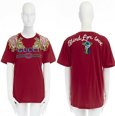 202204b6 GUCCI red vintage logo print floral embroidered Blind For Love sequin UFO  tee XS
