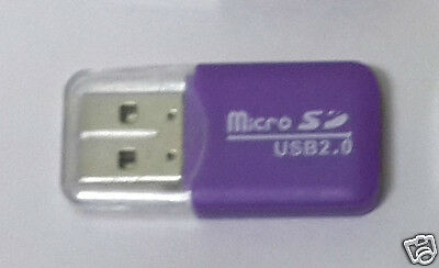 USB 2.0 Micro SDHC, TF, Memory Card Reader -* Purple *-