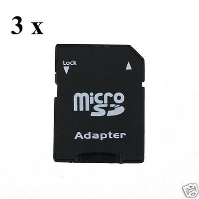 3 x Micro SD, SDHC to SD Card Adapters  * 3 Adapters Included  *