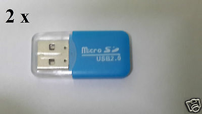 2 x USB 2.0 Micro SDHC, TF, Memory Card Reader -* Blue *-