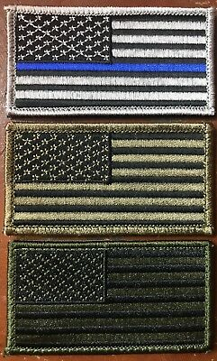 AMERICAN FLAG EMBROIDERED PATCH OD TAN BLUE LINE USA US HOOK & LOOP Fastener