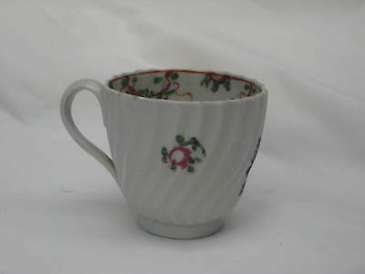 Charming Late 18Th Century English Cup Wrythen Shape Painted Floral Sprig