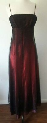 Morgan And Co Prom Or Formal Dress Long Red Black Lacy Overlay Crystals gothic