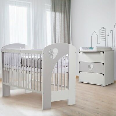 NEL HEART BABY COT 120x60cm + MATTRESS TYPES TO CHOOSE HIGH QUALITY + CONTAINER