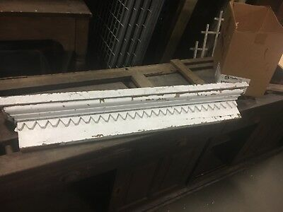 "Circa 1870's sawtooth gingerbread style window header pediment white 45"" x 7""x4"""