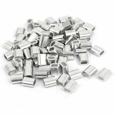 2mm Aluminum Double Hole Wire Rope Clamp Clip Sleeve 80 Pcs Z6I8