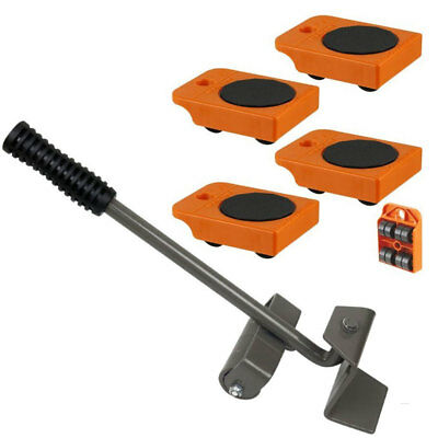 "4pc Mover Rollers with Handle, Furniture & Appliances Roll with Ease 4"" x 3"""