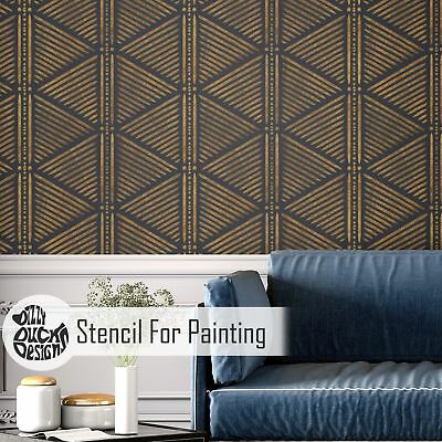NDOLA African Geometric Modern Wall Furniture Stencil for Painting