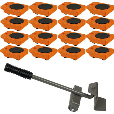 "16pc Mover Rollers with Handle, Furniture & Appliances Roll with Ease 4"" x 3"""