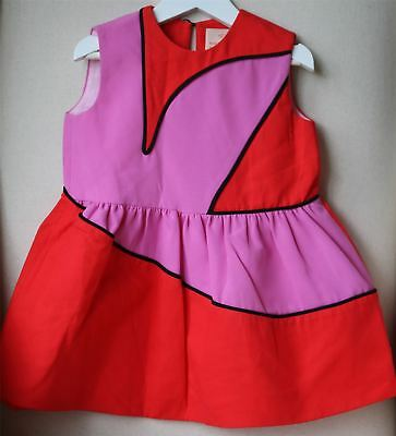 Roksanda Blossom Girls Red Colour Block Dress 4 Years