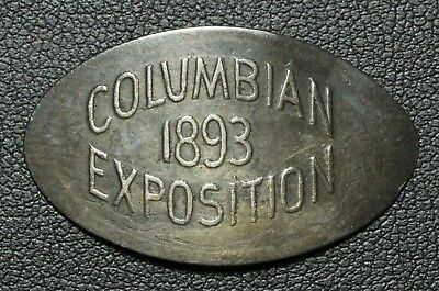 1893 Columbian Exposition Elongated Coin - On a 18?? Seated Liberty Silver Dime!