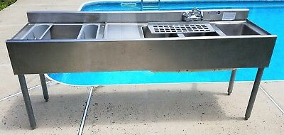 """Krowne Commercial Stainless Steel Underbar Sink 4 Compartments 72"""" X 18"""" X 33"""""""