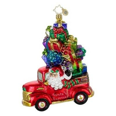 RADKO 2013 - PRESENTS FOR PICKUP Santa Truck Glass Christmas Ornament 1016242