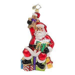 RADKO Santa w Gingerbread Man FAVORITE TREAT Glass Christmas Ornament 1016586