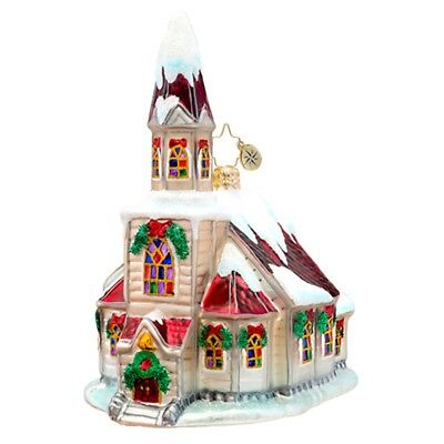 CHRISTOPHER RADKO - RUBY ROOF CHAPEL Church Glass Christmas Ornament 1017519