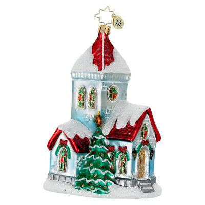 CHRISTOPHER RADKO - A VERY MERRY MASS Church Glass Christmas Ornament 1016151