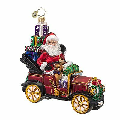 RADKO -LITTLE RED ROADSTER Santa Car w Presents Glass Christmas Ornament 1016611