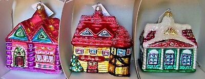 Set of 3 Houses CHRISTOPHER RADKO SUGAR HILL Glass Christmas Ornaments 1997