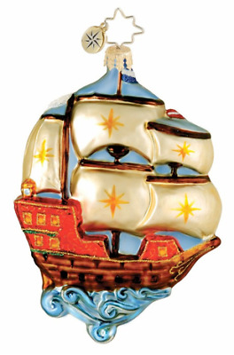 CHRISTOPHER RADKO THE CLIPPER SHIP Glass Christmas Ornament Sailing Ship 1015934
