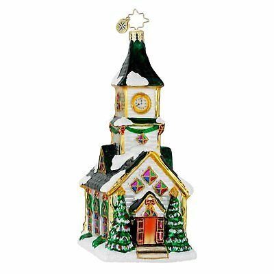 CHRISTOPHER RADKO ALL ARE WELCOME Church Chapel Glass Christmas Ornament 1016235