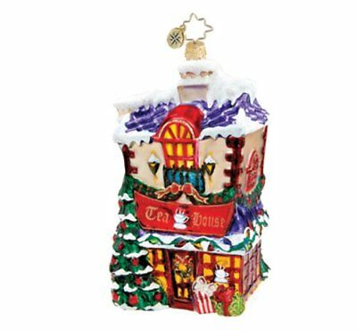 CHRISTOPHER RADKO - DICKENS VILLAGE TEA HOUSE Glass Christmas Ornament 1015789