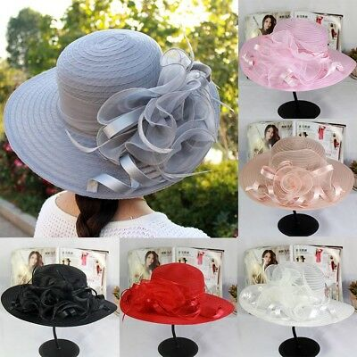 2018 Vintage Women Wide Brim Kentucky Derby Sun Hat Wedding Tea Party Church Cap