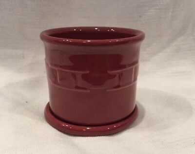 Longaberger Pottery Red Paprika Candle Holder Or Salt Jar with Lid EUC