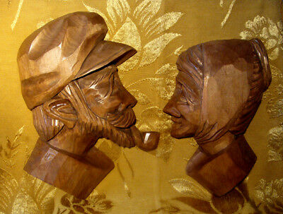 WOOD CARVED OLD MAN & WOMAN BUSTS WALL PLAQUES SIGNED from QUEBEC CANADA