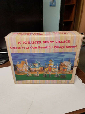10 pc easter bunny village..new in box!!!
