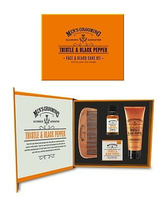 Scottish Fine Soaps  Face and Beard Kit Gift Box Thistle and Black Pepper
