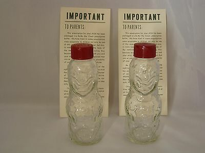 Pair Vintage BO-BO THE CLOWN BROCKWAY Figural Medicine Bottles Bakelite Caps