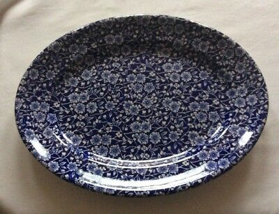 Queen's Calico Large Oval Serving Plate Platter Blue White
